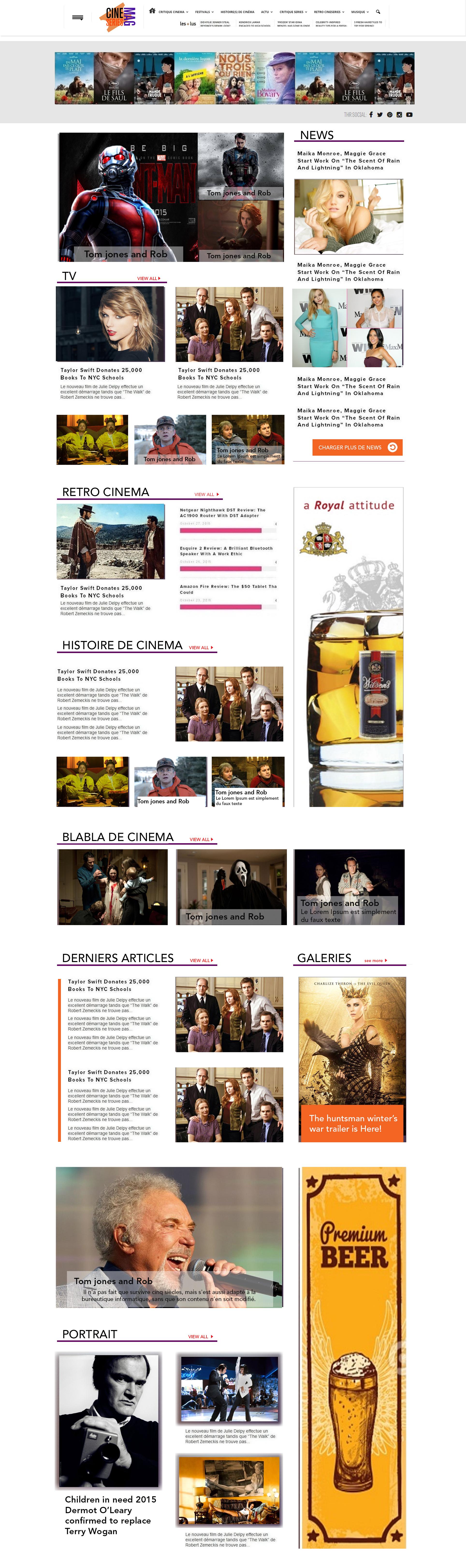 Création de la page d'accueil pour le site cineseries-mag